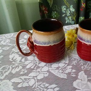 Set of Two Vintage  Roscher Stoneware Coffee Mugs